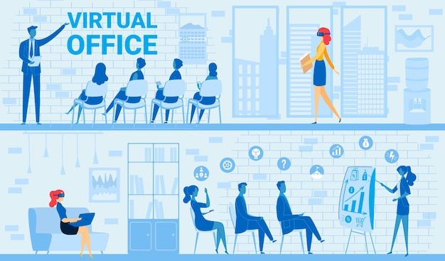 People in virtual business office meeting vector illustration. cartoon flat businesswoman in tech vr glasses sitting with laptop, working in virtual reality conference
