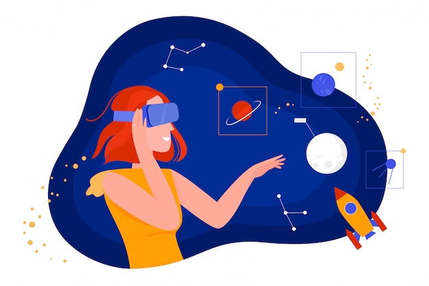 People in virtual reality illustration, cartoon flat woman character in vr glasses headset looking at dream universe space