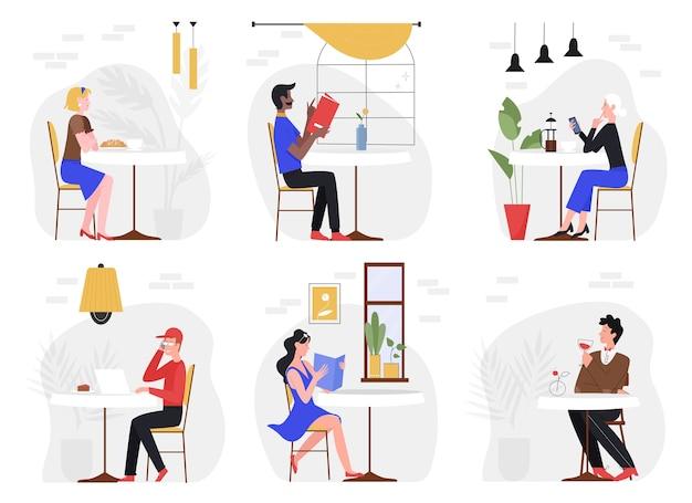People visit cafe illustration set.