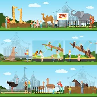 イラストの動物園セットを訪れる人々、野生動物を見ている子供を持つ親、動物園のコンセプトバナー