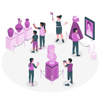 歴史博物館の概念図を訪れる人々
