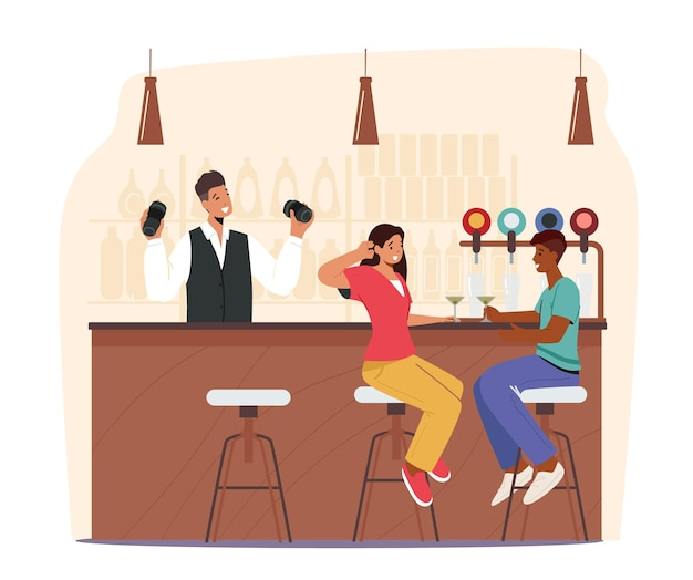 People visiting night club or beer pub concept. male and female characters sit at high chairs drinking cocktail, alcohol beverages on bar counter with bottles on shelves. cartoon vector illustration