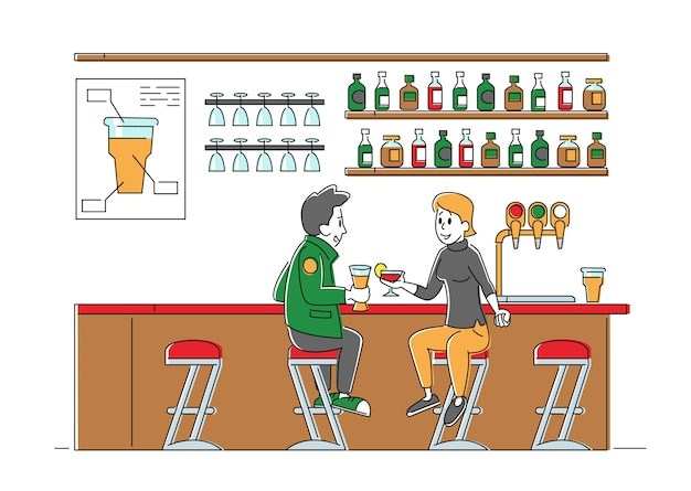 People visiting night club or beer pub concept