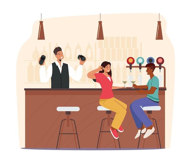 Люди, посещающие ночной клуб или концепцию пивного паба. персонажи мужского и женского пола сидят за высокими стульями, пьют коктейль, алкогольные напитки на барной стойке с бутылками на полках. векторные иллюстрации шаржа