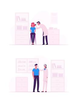 Люди, посещающие практикующего отоларинголога в больнице. мультфильм плоский иллюстрация