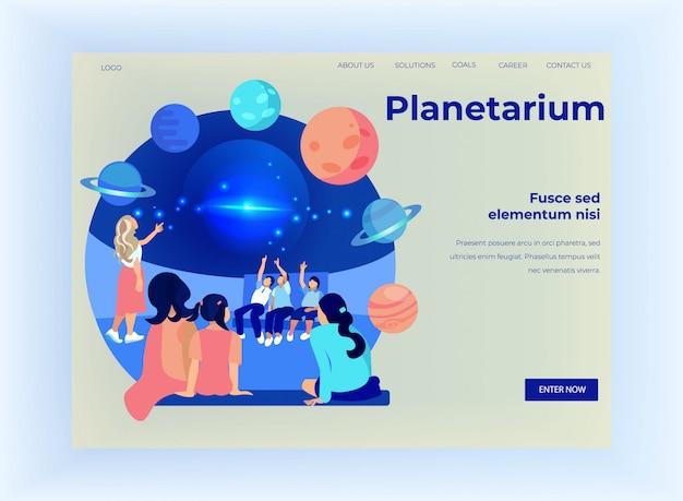 People visiting planetarium, solar system banner
