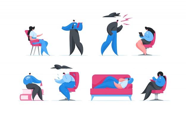 Люди в гостях у профессиональных психологов в клинике. иллюстрация Premium векторы