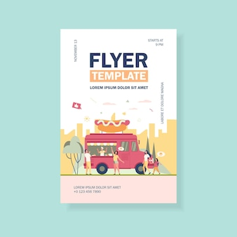 People visiting street food festival and buying snacks in trucks flyer template