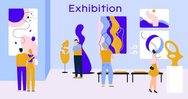 갤러리에서 현대 미술 전시회를 방문하는 사람들. 남자, 여자, 부부는 추상 회화, 박물관 홀의 창의적인 작품 현대 조각