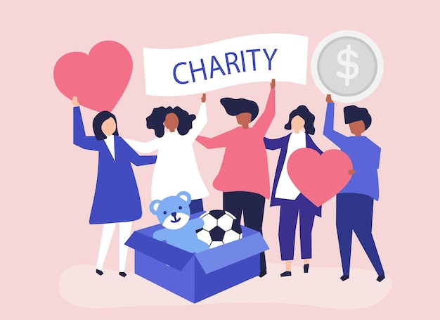 People volunteering and donating money