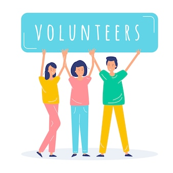 People volunteers illustration