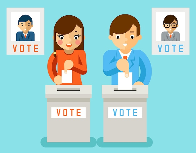 People vote candidates of different parties. election voting, ballot and politics, choice democracy