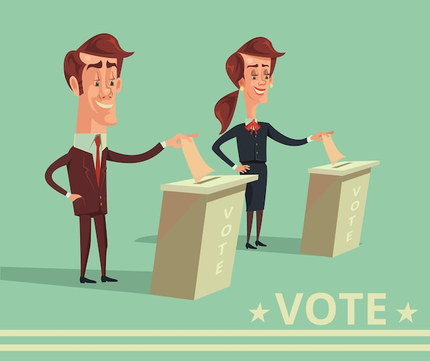 Люди голосуют за кандидатов от разных партий мультфильм плоская иллюстрация
