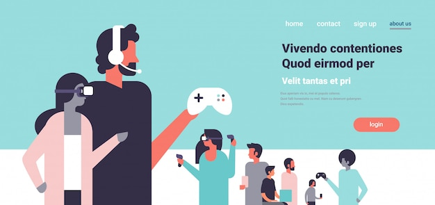 People in vr glasses playing controller gamepad couple in virtual reality headphones team flat copy space horizontal