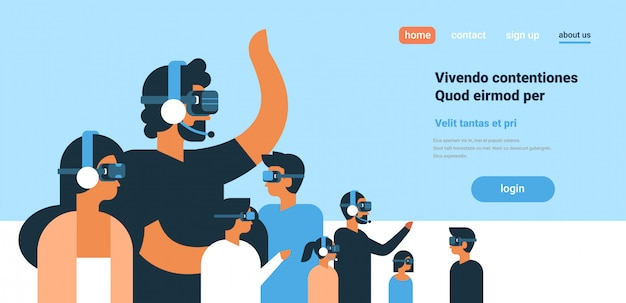 People in vr glasses playing virtual reality headphones team flat copy space horizontal