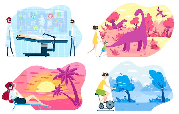 People in vr glasses of virtual augmented reality, innovative technologies, vector illustration