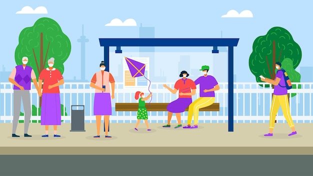 People wait for bus transportation vector illustration flat man woman character in mask virus protec...