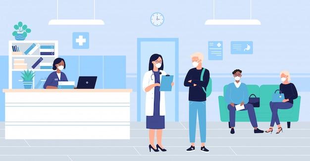 人々は病院ホールのインテリアイラストで待機します。医者の応接室に座って、博士試験を待っているマスクで患者の女性の男性キャラクターを漫画します。医療ヘルスケアの背景