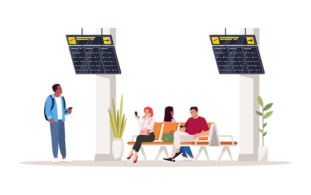 People in waiting area semi flat rgb color vector illustration. people in airport terminal lobby. man and woman sit on chairs. airplane passengers isolated cartoon character on white background