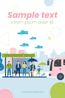People waiting for bus at bus stop in rainy day illustration