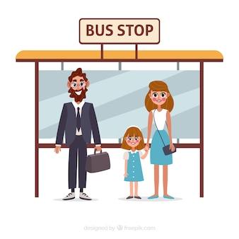 Persone in attesa del bus con design piatto