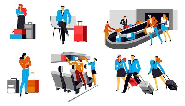 수하물 찾는 곳에서 수하물을 들고 공항에서 회전 목마를 기다리는 사람들. 소포와 가방을 들고 집으로 돌아오거나 휴가를 가는 여행자. 승객에 대한 통제 및 절차. 벡터 평면 스타일