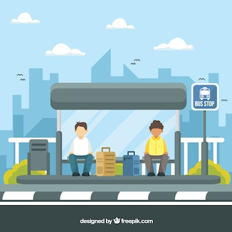 People waiting for the bus with flat design