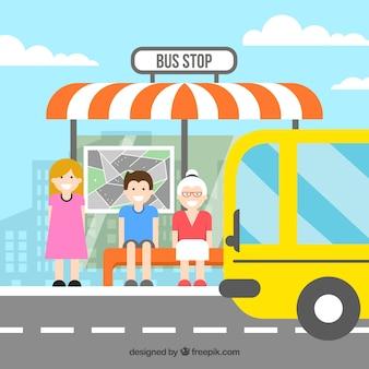 평면 디자인으로 버스를 기다리는 사람들