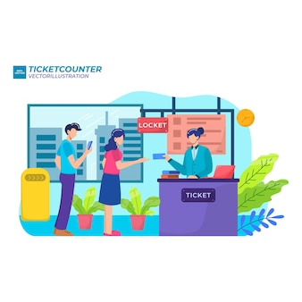 People waiting in line at ticket box or registration counter, flat illustration.