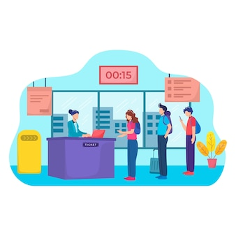 People waiting in line at ticket box or registration counter, vector flat illustration