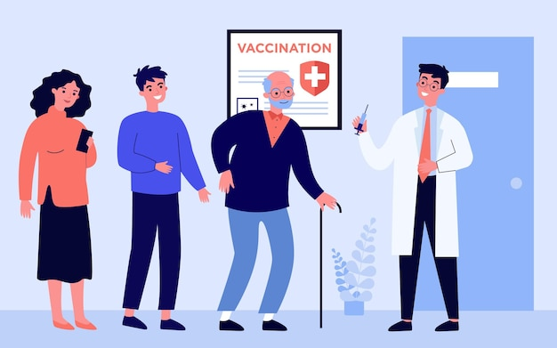 People waiting in line for vaccinations. doctor holding syringe with vaccine against covid flat vector illustration. hospital, coronavirus concept for banner, website design or landing web page