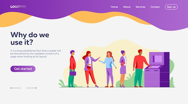 People waiting in queue for bank machine landing page template