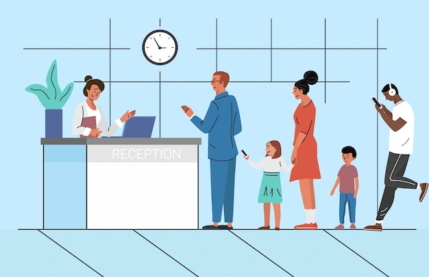 People waiting in queue   illustration. bank reception. clients, customers waiting for consultation with manager concept.