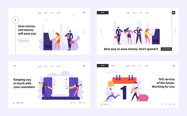 People waiting in queue near atm concept landing page set