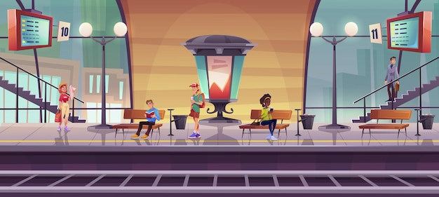 Persone in attesa del treno sulla piattaforma della stazione ferroviaria interna