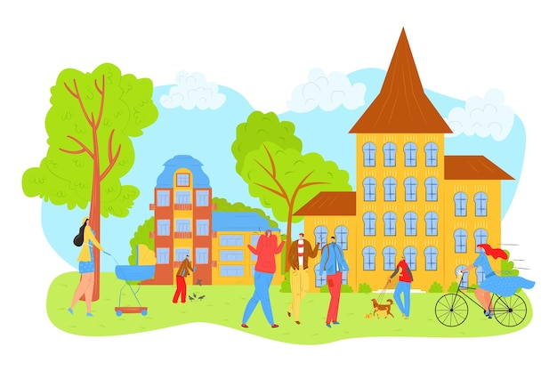 People walk in city park in summer, leisure and rest in nature with friends  illustration. mother with baby carrige, girl on bicycle, man with dog in park, relaxing among trees.