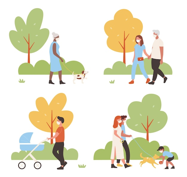 People walk in city park vector illustration set. cartoon active family characters walking together