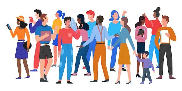 人々はカジュアルな服を着て男性と女性のさまざまな年齢の多様なグループの群衆の中を歩きます