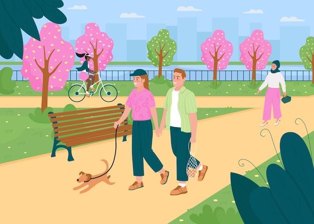人々は春の公園で歩くフラットカラーイラスト