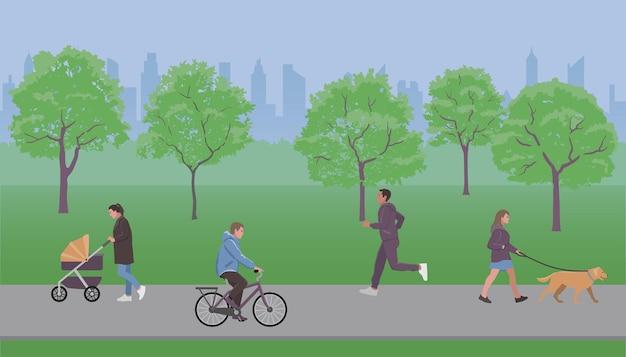 Люди ходят в парке векторная иллюстрация плоский стиль дизайна для обложек веб-баннеров и плакатов