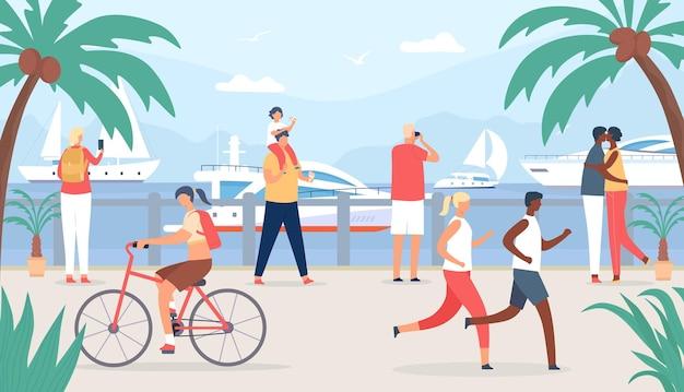 Люди гуляют по морской набережной. семья и турист пары на отдыхе смотрят на парусные лодки. приморское летнее путешествие в концепции плоского вектора тропического берега. человек, фотографирующий яхты, женщина, езда на велосипеде