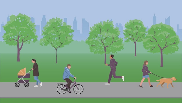People walk in the park vector illustration flat design style for covers web banners and posters