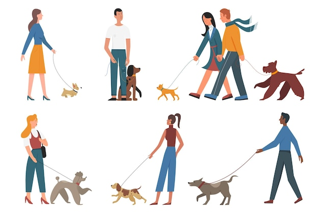 人々はさまざまな品種の愛犬を散歩し、若い男性と女性の飼い主と子犬のペットを設定します
