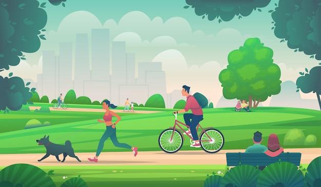 人々は都市公園で自転車を散歩、走り、自転車に乗る。都市環境でのアクティブなライフスタイル。アウトドアレジャー。漫画のスタイルのベクトル図