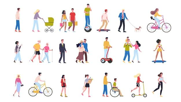 人が歩くセット。さまざまなキャラクター、若い夫婦、お年寄り。女と男が一緒に。漫画のスタイルのイラスト