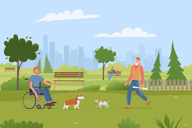 Люди ходят с домашними животными и собаками