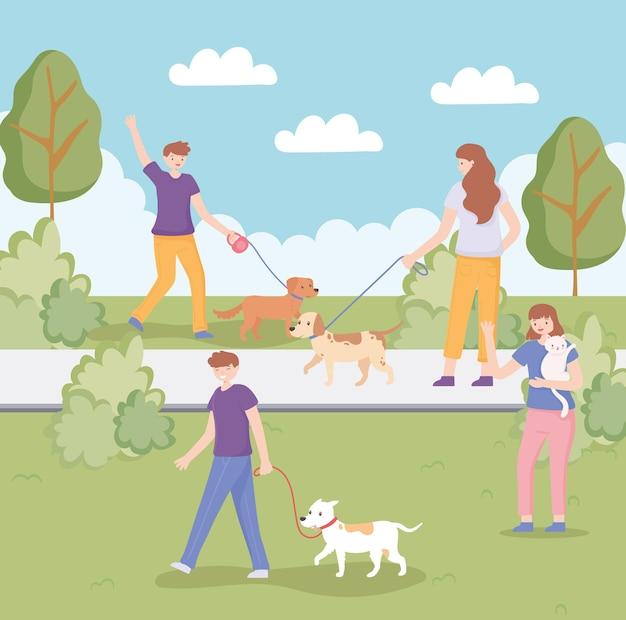 사람들은 애완 동물과 함께 산책