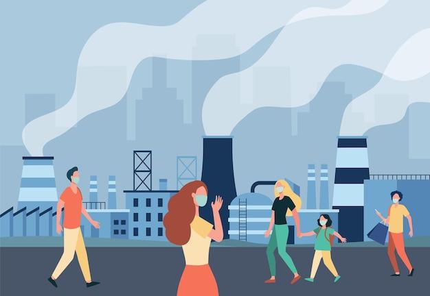 마스크 절연 평면 그림에서 거리를 따라 걷는 사람들. 산업 플랜트의 대기 배출 및 스모그로부터 보호하는 만화 캐릭터