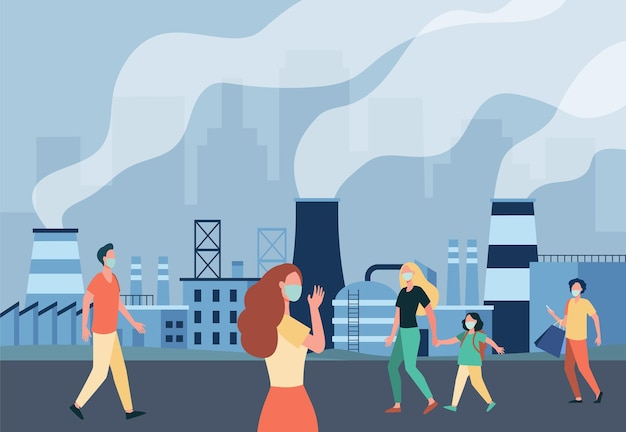 People walking along street in masks isolated flat illustration. cartoon characters protecting from air emissions and smog from industrial plant
