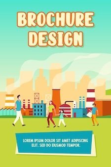 People walking along street in masks isolated flat vector illustration. cartoon characters protecting from air emissions and smog from industrial plant
